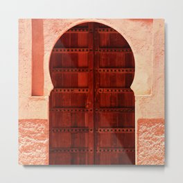 Masala Chai - Red Door in India - Millenial Pink Magenta Maroon - Antique Eclectic Travel Architecture Metal Print