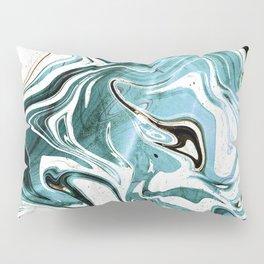 Liquid Teal Marble Pillow Sham