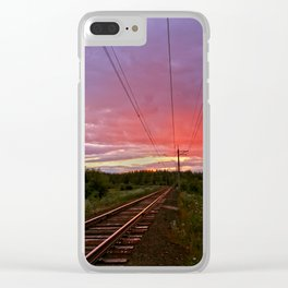 Northern sunset at white night Clear iPhone Case