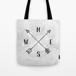 Black and White Wood Grain Compass Tote Bag