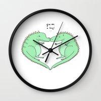 hug Wall Clocks featuring Hug by Huebucket