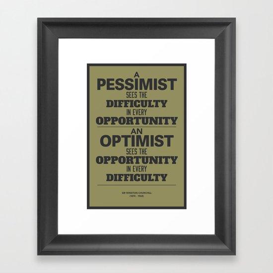 Pessimist / Optimist Framed Art Print