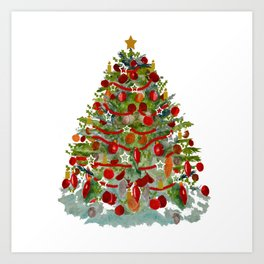 A Decorated Christmas Tree Art Print