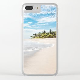 White sands and palm trees of a paradise beach in Costa Rica in Summer Clear iPhone Case