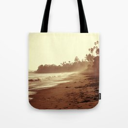 Vintage Retro Sepia Toned Coastal Beach Print Tote Bag