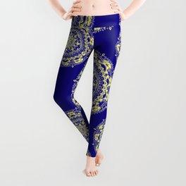 Royal Blue and Gold Patterned Mandalas Leggings