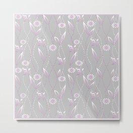 Gray lilac floral pattern . Metal Print
