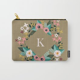 Floral Brown Monogram K Carry-All Pouch