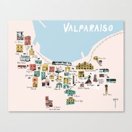 Valparaiso Map - Chile Canvas Print