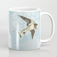 swallow Mugs featuring Swallow by Lorri Leigh Art