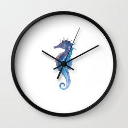 Blue Seahorse (Hippocampus) Wall Clock