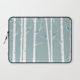 Birch Trees with Duck Egg Background Laptop Sleeve