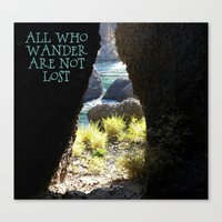 not all who wander Canvas Prints featuring All Who Wander by Janet Crosby