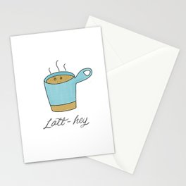 Latt-hey a cute latte coffee with a smile Stationery Cards
