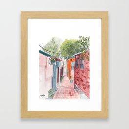 Korean Street Watercolor Illustration Framed Art Print