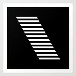 Minimalist Modern Geometric Monochrome Stripe Block White & Black Art Print