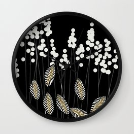Hello Fall! White/Black/Yellow Retro Plants on Black #decor #society6 #buyart Wall Clock