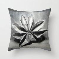origami Throw Pillows featuring ORIGAMI by The Traveling Catburys