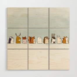 Winter forest animals Wood Wall Art