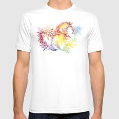 Flower Burst Color High SMALL Mens Fitted Tee White