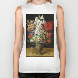 """Osias Beert """"Flowers in a German tigerware vase, with a bluebottle fly and a Red Admiral butterfly"""" Biker Tank"""