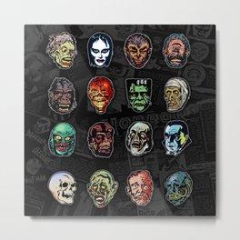Horror Movie Monsters Masks (color) Metal Print