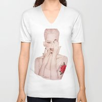 valentine V-neck T-shirts featuring Valentine by Amy Bannister