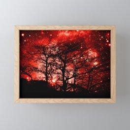 black trees red space Framed Mini Art Print