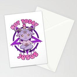 Not Today Jesus I Cute Satanic Goat T-Shirt Stationery Cards