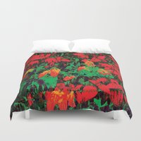 marx Duvet Covers featuring Flora Celeste Ruby Floral  by Meteora
