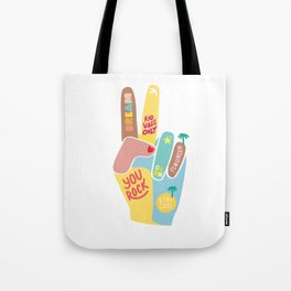 Motivational Peace Fingers Tote Bag