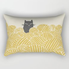 Cat and Yarn Rectangular Pillow