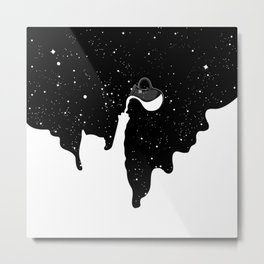 Space Paint Milky Way Cat Metal Print