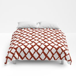 Rhombus White And Red Comforters