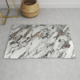Classic White Marble Silver Glitter Glam #1 (Faux Glitter) #marble #decor #art #society6 Rug