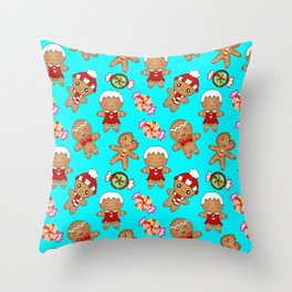 Cute seamless pattern. Happy festive gingerbread men and sweet xmas caramel chocolate candy Throw Pillow