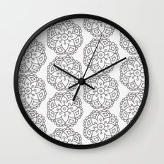 Silver grey lace floral Wall Clock