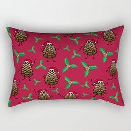 Dancing Pinecones in Maroon Rectangular Pillow