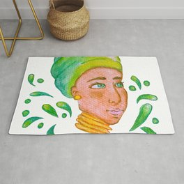 African lady in green Rug