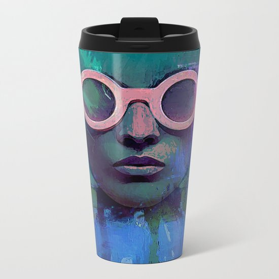 Pink Glasses girl Metal Travel Mug