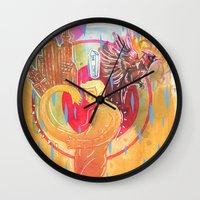 cities Wall Clocks featuring Building Cities by Manfish Inc.