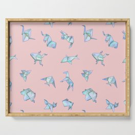 Origami on Pink Serving Tray