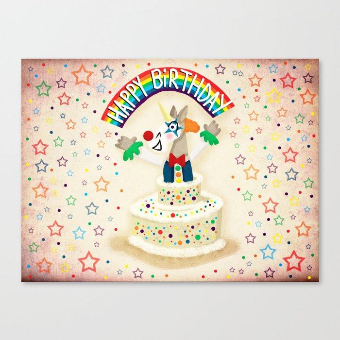 Happy Birthday Cake Unicorn Canvas Print