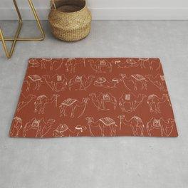 Linocut Camels No. 2 in Rust Rug