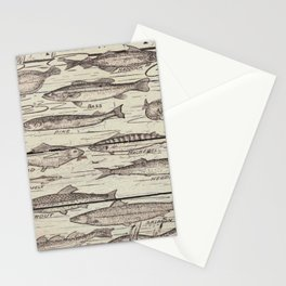 father's day fisherman gifts whitewashed wood lakehouse freshwater fish Stationery Cards