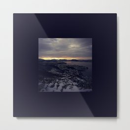 Winter morning, view of a city, sea and mountains Metal Print