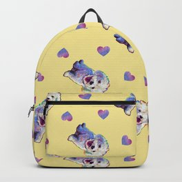 Cute BICHON FRISE Pattern on Pale Yellow Backpack