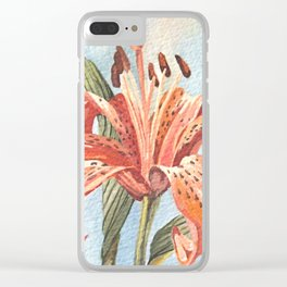 Orange Tiger Lily Watercolor Painting Clear iPhone Case