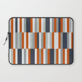 Orange, Navy Blue, Gray / Grey Stripes, Abstract Nautical Maritime Design by Laptop Sleeve