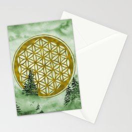 Misty Forest Mandala Green | Watercolor  Stationery Cards